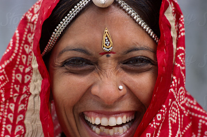 Smiling Rajasthani woman. Thar Desert. India by Hugh Sitton