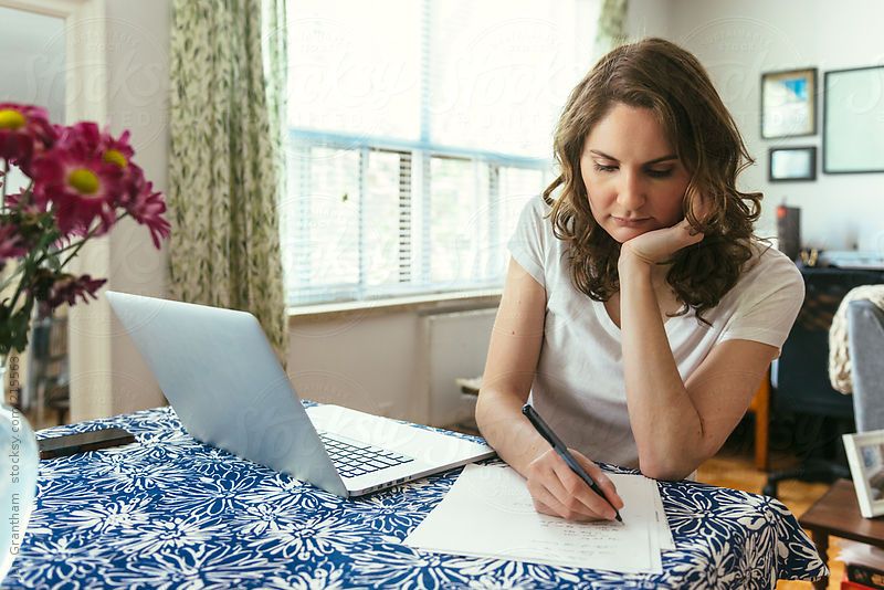 Business stock photos: Woman working from home by Jen Grantham