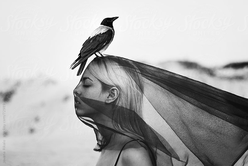 Girl with bird on her head by Jovana Rikalo