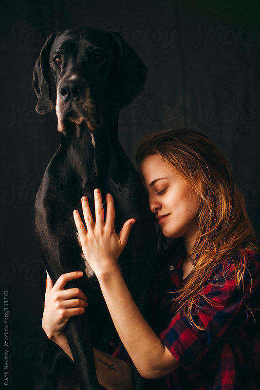 Girl with dog by Danil Nevsky