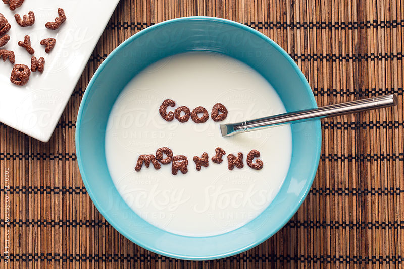 Good morning written with cornflakes in a bowl by Mark Korecz