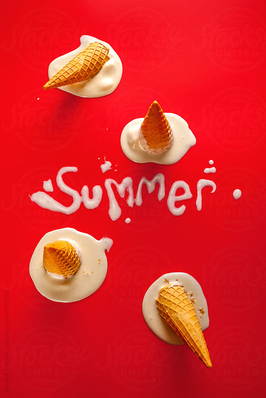 Summer word shaped with vanilla ice cream over red background. by Eduard Bonnin
