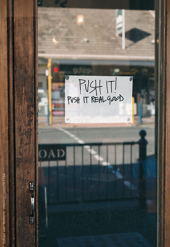 funny push sign on door by Gillian van Niekerk