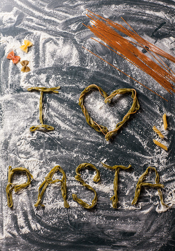 Letters made of pasta. by Mosuno
