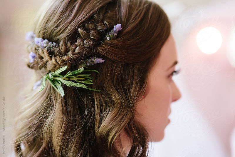 detail of bridal hair style with lavender and braid by Brian Powell