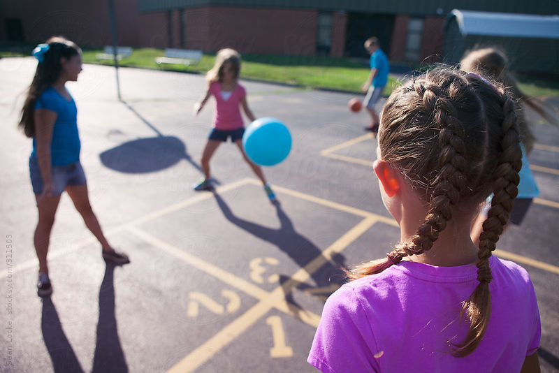 Recess: Girls Play Four Square On Playground by Sean Locke