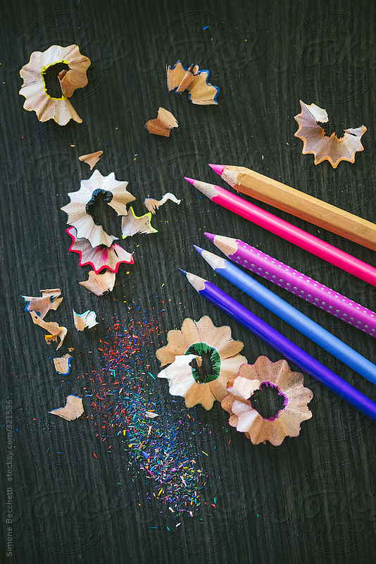 Colorful pencils and shavings background by Simone Becchetti