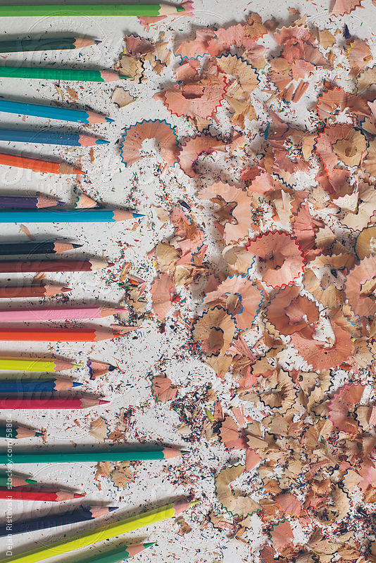 Colorful pencils with shavings by Dejan Ristovski