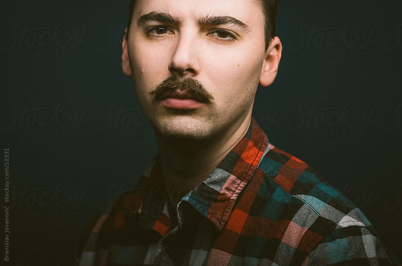 Portrait of a real man with mustaches by Branislav Jovanović