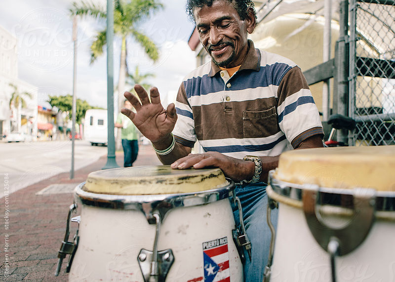 Conga Player in Miami by Stephen Morris