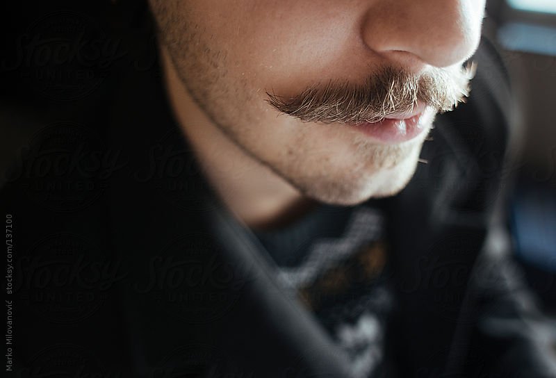 Young man with moustache by Marko Milovanović