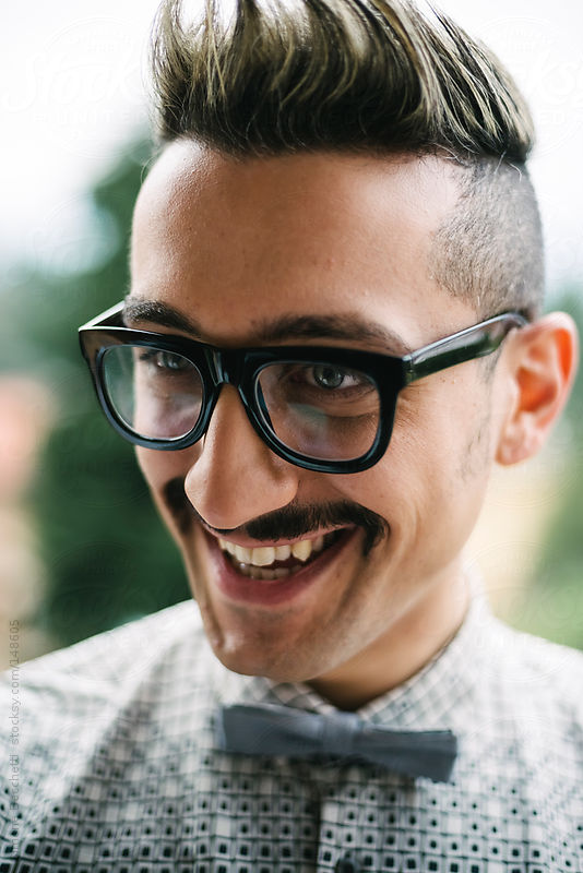 Man with glasses and moustaches portrait by Simone Becchetti