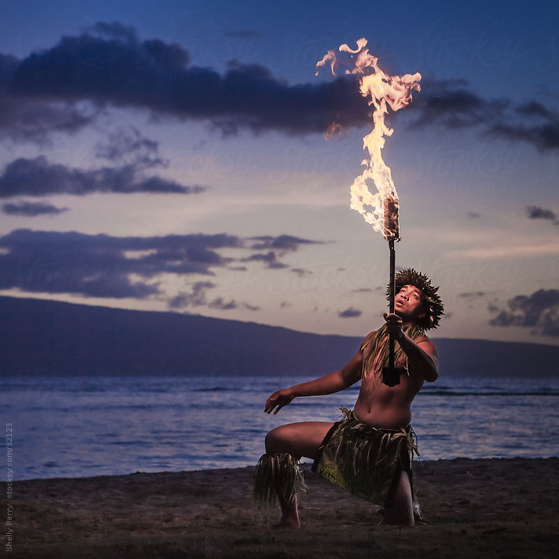 Traditional Hawaiian Fire Dancer by Shelly Perry