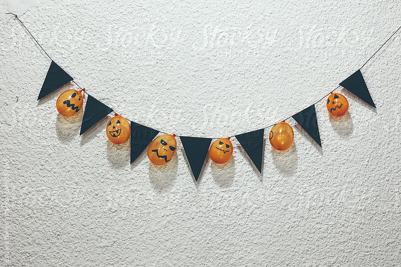 Funny homemade halloween decoration with orange balloons by Eduard Bonnin