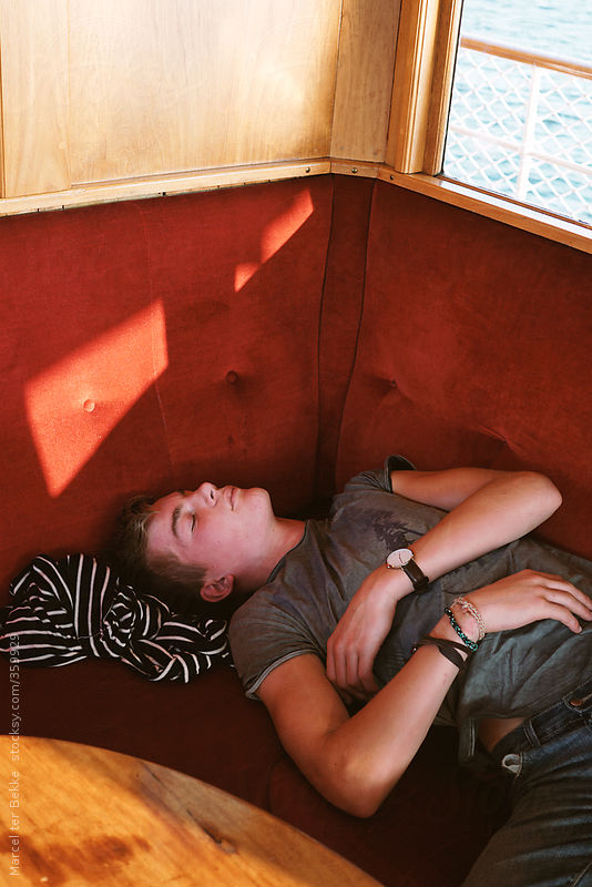 Sleeping on the ferry by Marcel