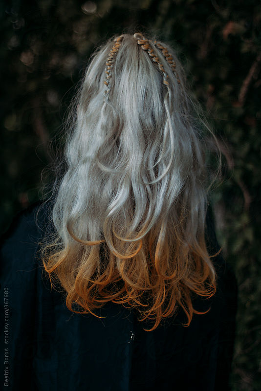 Blond hair dipped in orange color by Beatrix Boros
