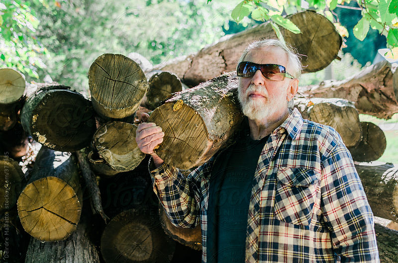 A man with his logs by Deirdre Malfatto