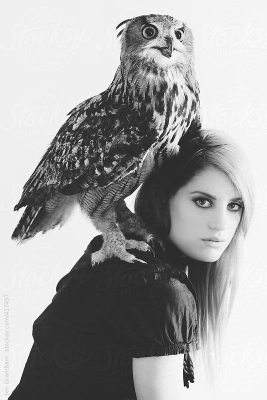 Owl on woman's shoulder by Jen Grantham