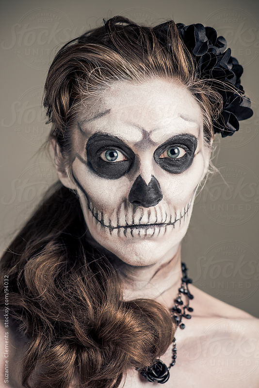 Woman Painted as a Frightening Skeleton by Suzanne Clements