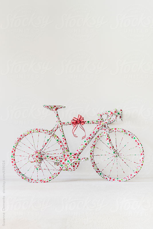 Road Bike in Playful Gift Wrap by Suzanne Clements