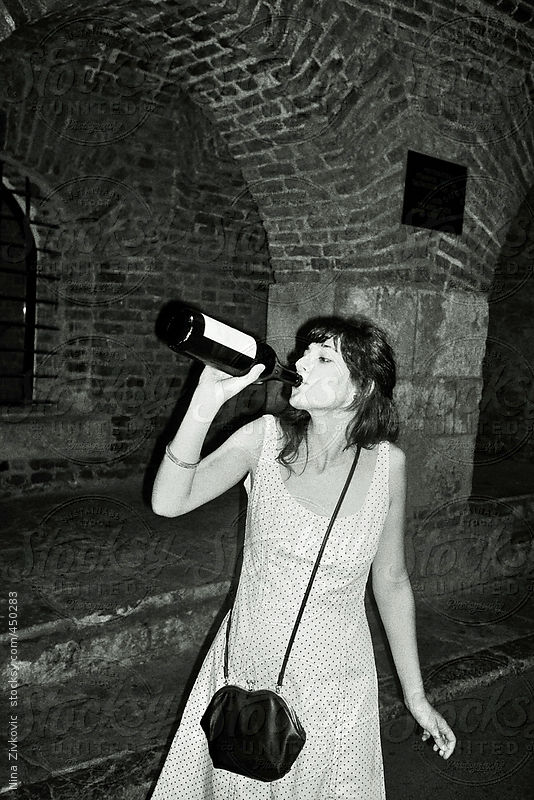 A young girl drinking wine. by Nina Zivkovic