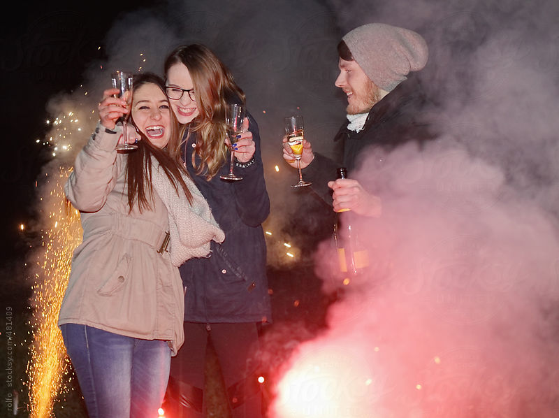 party people fire new years eve by Rolfo