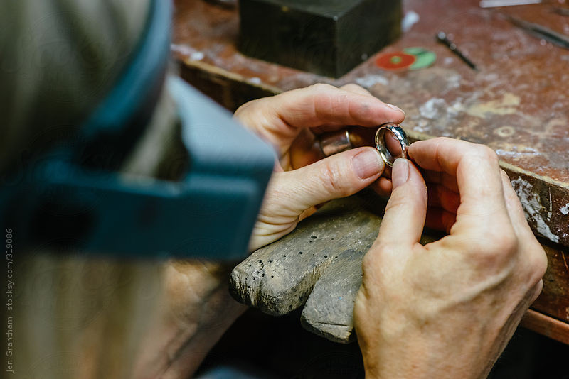 Jewellery designer working on a men's wedding band by Jen Grantham