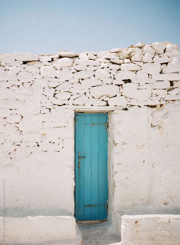 Tuquoise blue doorways in Mykonos, Greece by Marta Locklear
