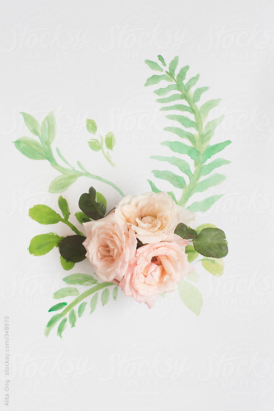 Roses on painted fern leaf by Alita Ong