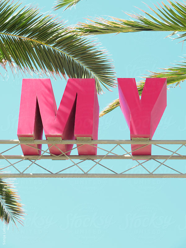 "pink letters ""my"", blue sky, and palm tree leaves by Sonja Lekovic"