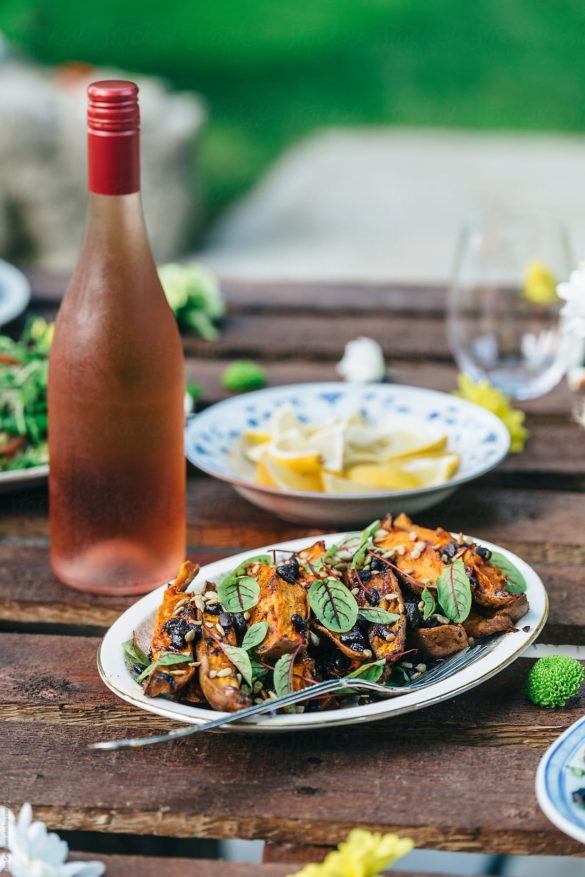 Sweet potato and wine for a summer feast